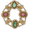 Gilt Silver Jadeite & Pink Tourmaline Bracelet