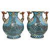 Pair of Antique Chinese Phoenix Cloisonne Vases