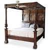 Antique Carved Mahogany Poster Canopy Bed