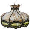 Antique Art Nouveau Slag Glass Ceiling Chandelier