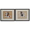 (2 Pc) Japanese Samurai Paintings On Silk