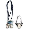 (2 Pc) Sterling Silver, Carved Bone and Semi Precious Stone Jewelry Set