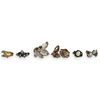 (6 Pc) Sterling and Semi Precious Stone Rings