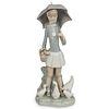 Lladro Porcelain Girl w/ Goose Figurine