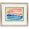 Kiko Signed Watercolor Boat Harbour Scene