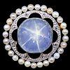 RARE STAR SAPPHIRE PEARL AND DIAMOND BROOCH