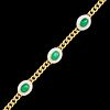 EMERALD AND DIAMOND CLUSTER LINK BRACELET