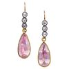 PAIR OF PASTE AND PINK STONE DROP EARRINGS
