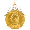 DOUBLE SOUVEREIGN 2 POUND COIN PENDANT, 1887