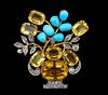 CITRINE DIAMOND AND TURQUOISE FLORAL BROOCH