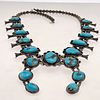 Native American Turquoise, Silver Squash Blossom Necklace