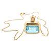 Aquamarine, Diamond, 18k Yellow Gold Necklace