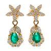 Pair of Emerald, Diamond, 18k Yellow Gold Earrings