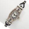 Ladies Art Deco Diamond, Platinum and 18k Wristwatch