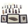 A Collection of Native American Stone Spear Points, Arrow heads, and Banner stones