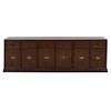 Trinchador Siglo XX Elaborado en madera Con 6 cajones y 6 puertas abatibles Cubierta rectangular de vidrio Decorado con mo...