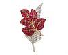 VAN CLEEF & ARPELS 18K Gold, Platinum, 'Mystery-Set' Ruby, and Diamond Leaf Brooch