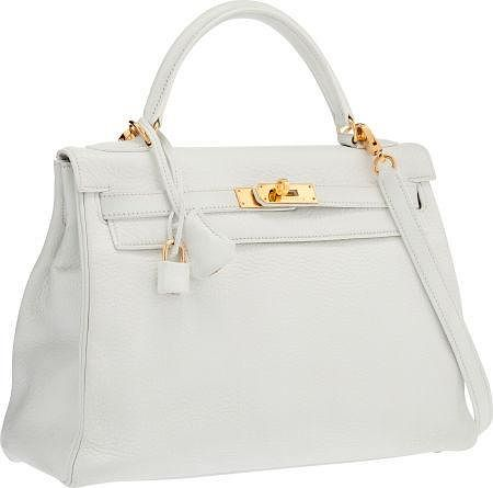 4a6a0671982d Hermes 32cm White Clemence Leather Retourne Kelly Bag with Gold ...