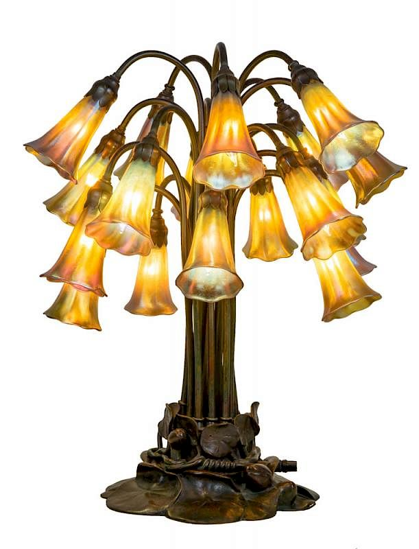 Tiffany Studios Favrile Glass And Bronze Eighteen Light Lily Table