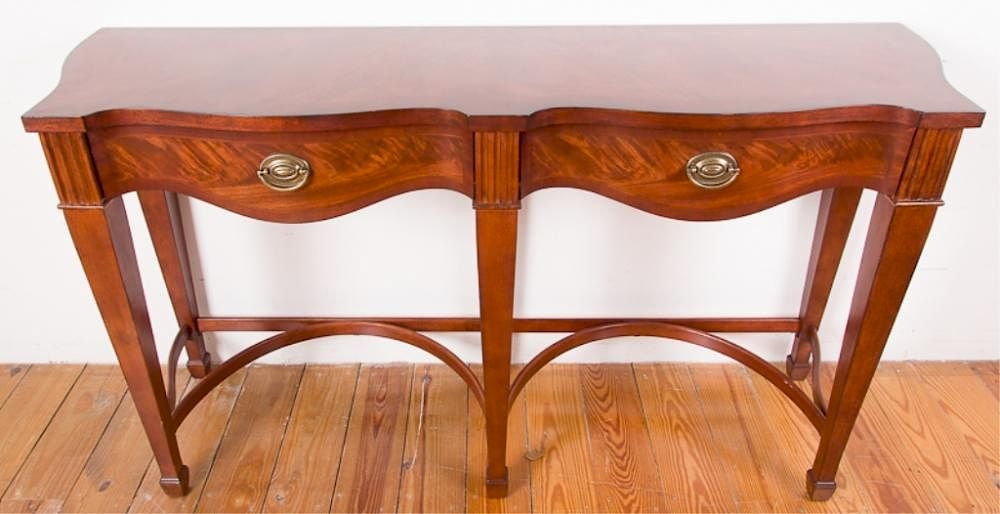 Broyhill Walnut Serpentine Sofa Table By Bremo Auctions
