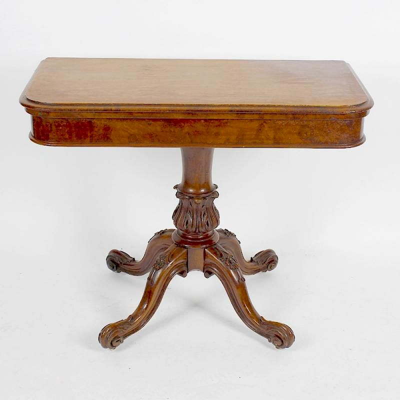 a victorian walnut fold over pedestal card table the moulded oblong