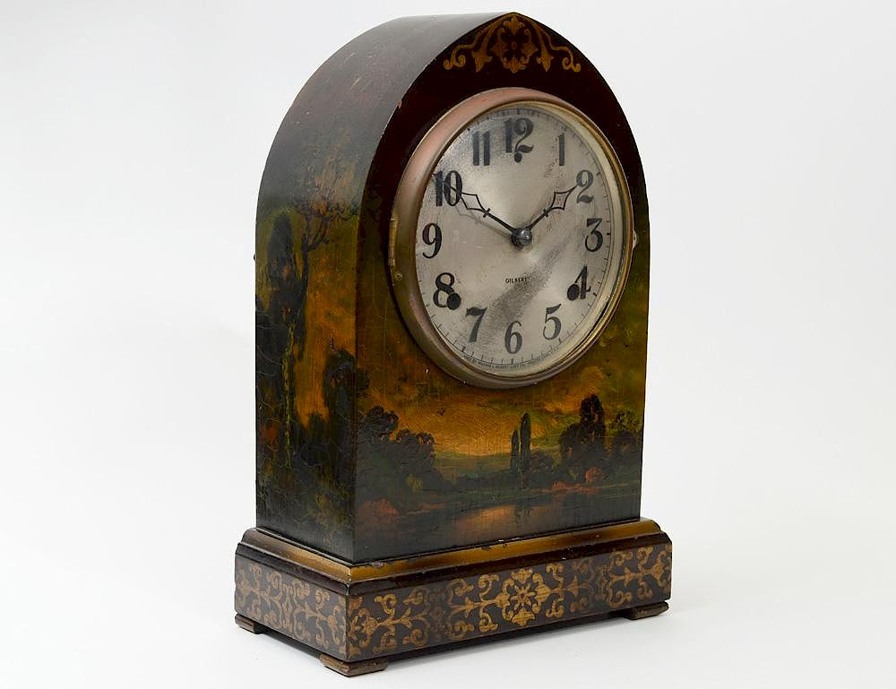 Antique painted mantel clocks