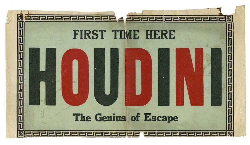 Houdini, Harry  Houdini Poster Fragment  Circa 1910  Text in