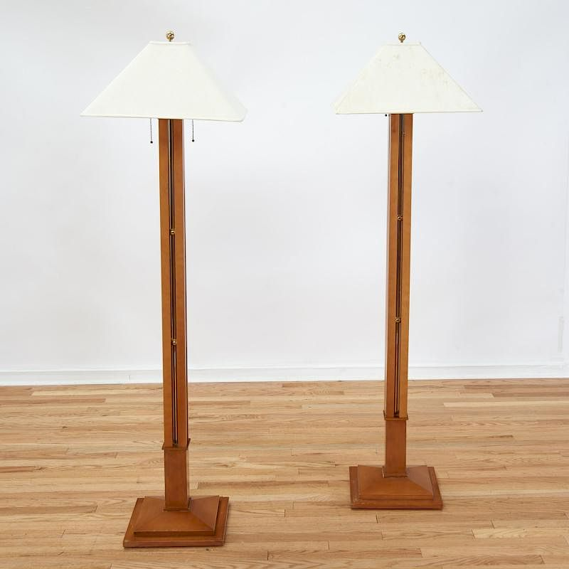 Pair Frank Lloyd Wright Style Mahogany Floor Lamps By Millea Bros Ltd Bidsquare