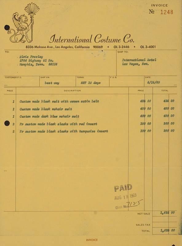 elvis presley international costume company invoice by julien s
