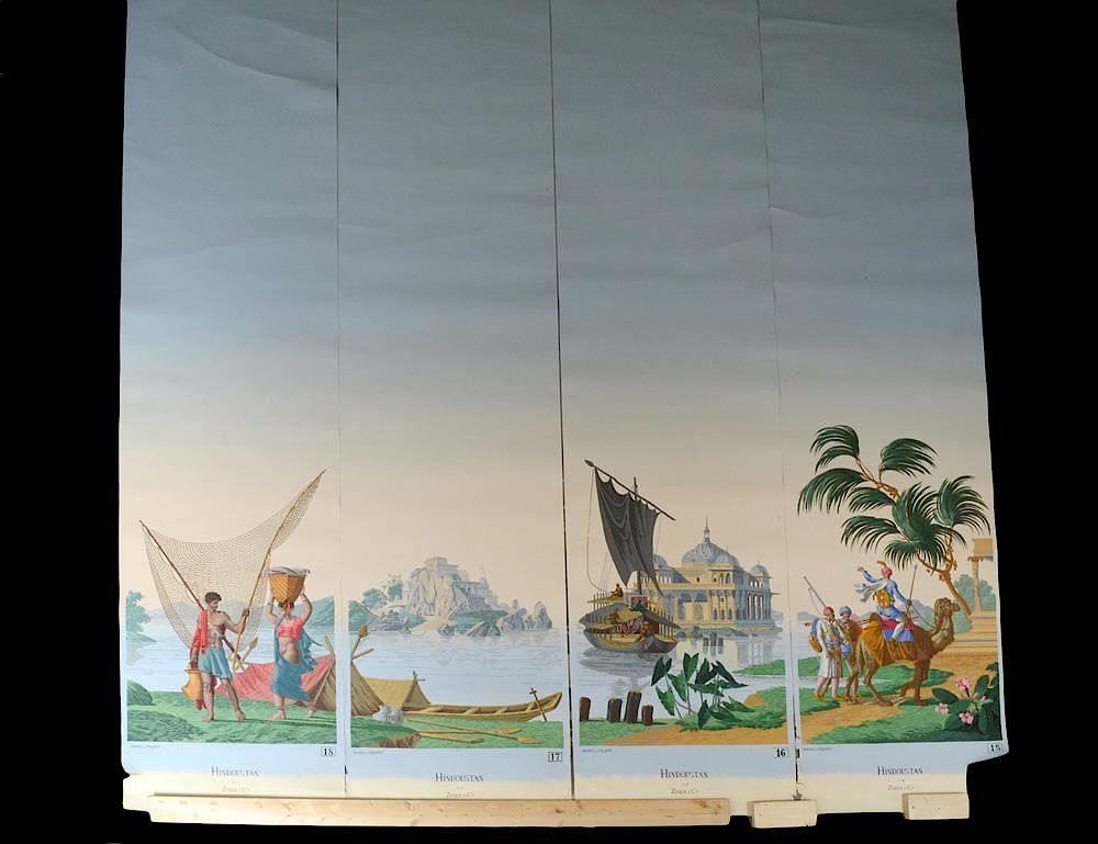 Set Of Four Hand Painted Wallpaper Panels By Auction Gallery