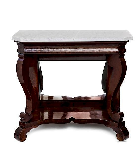 An American Empire Mahogany Console Table Height 35 X Width 40 Depth 19 Inches By Leslie Hindman Auctioneers Bidsquare