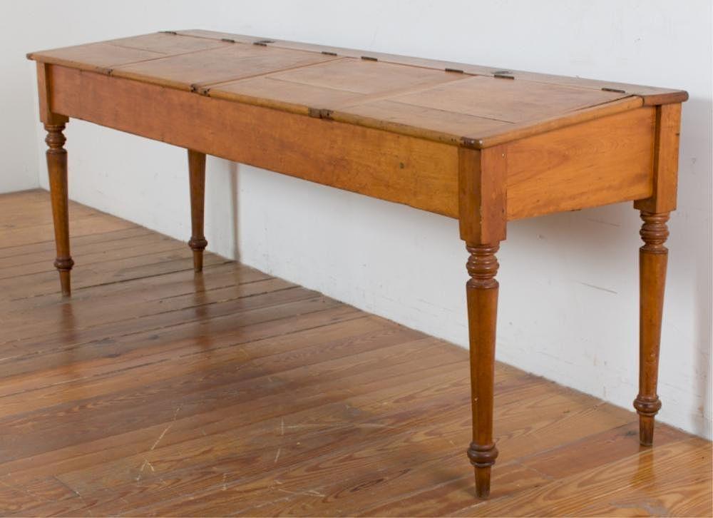 Antique School Desk, 4-Person, Red Oak w/Inkwells by Bremo Auctions |  Bidsquare - Antique School Desk, 4-Person, Red Oak W/Inkwells By Bremo Auctions