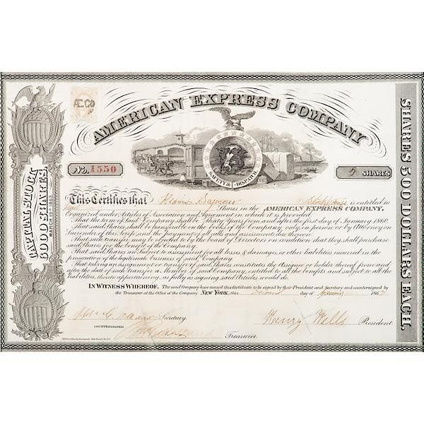 Henry Wells And William Fargo Signed Stock Certificate By Cowans
