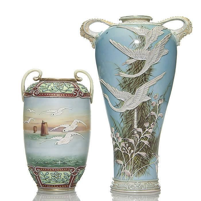 2 Nippon Moriage Vases10 Wgeese 7 W Seagulls By Humler And