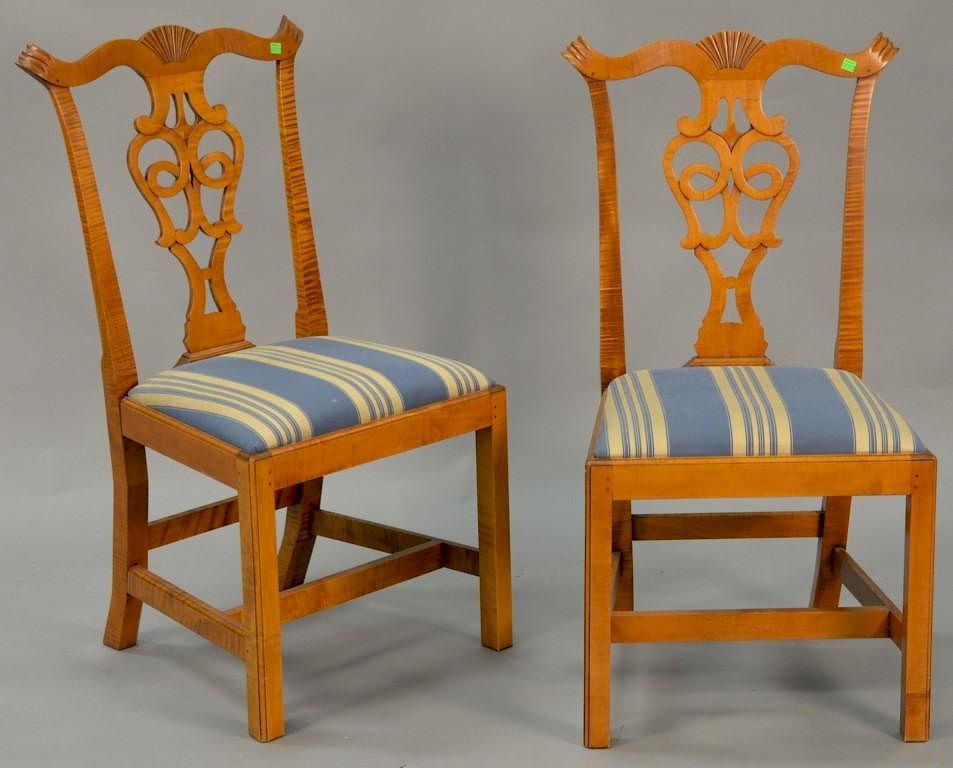 Pair Of Eldred Wheeler Tiger Maple Chippendale Style Side Chairs. By  Nadeauu0027s Auction Gallery   Bidsquare