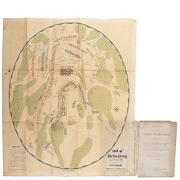 Scarce Gettysburg Battlefield Map, T. Ditterline, 1863 by ... on seminary ridge, george pickett, pickett's charge, lewis addison armistead, gettysburg national cemetery, gettysburg college map, battle of gettysburg, third day cavalry battles, manassas battlefield park map, little round top map, knights of the golden circle map, day-one gettysburg map, battle of gettysburg, fort necessity national battlefield map, eastern shore of maryland map, battle of gettysburg, second day, cemetery hill, july 1 gettysburg map, devil's den, cemetery ridge map, gettysburg campaign, historic gettysburg map, gettysburg cyclorama, gettysburg wheatfield map, eternal light peace memorial, 1st day gettysburg map, barlow knoll gettysburg map, civil war 1863 gettysburg map, battle of gettysburg, first day, gettysburg campaign map, big round top, cemetery ridge, gettysburg town map, richmond national battlefield park map, lee's retreat from gettysburg map, little round top, pickett's charge at gettysburg map, bull run map, gettysburg address, gettysburg national tower, gettysburg museum and visitor center,