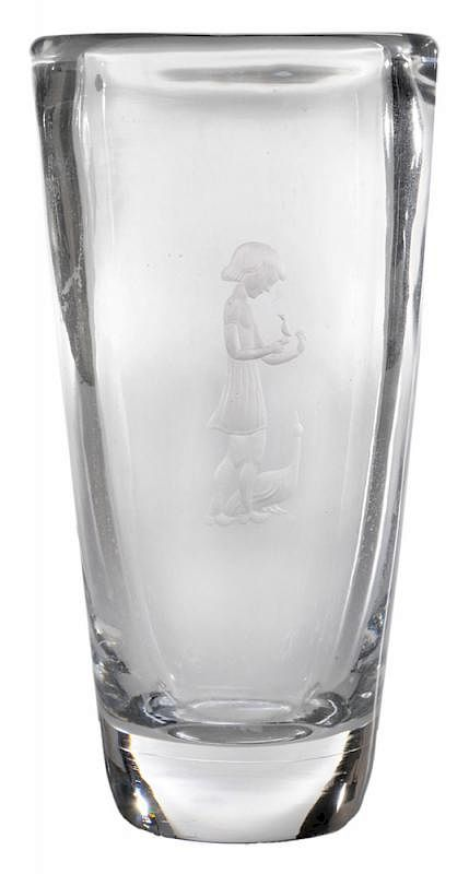 Decorated Orrefors Vase Intaglio By Brunk Auctions Bidsquare