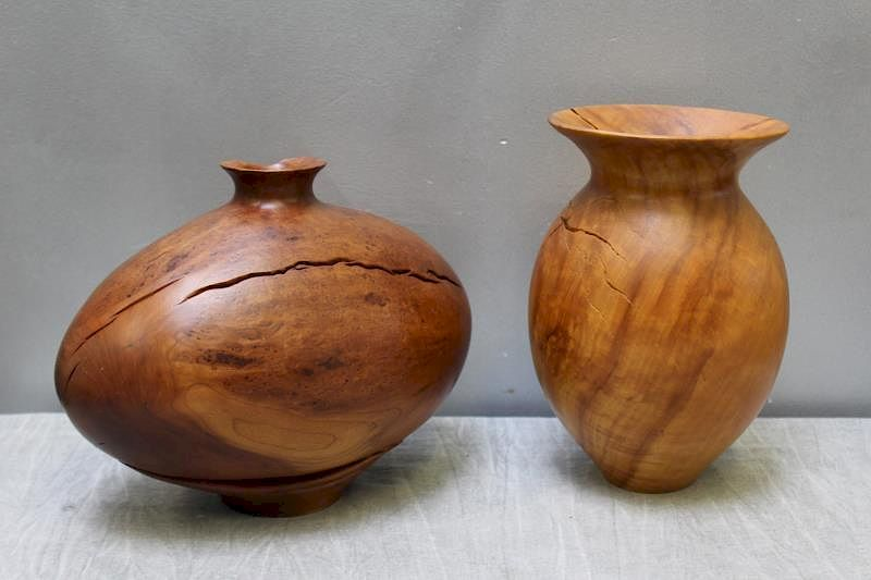 Lot Of Holzapfel Applewoods Turned Wood Vases By Clarke Auction