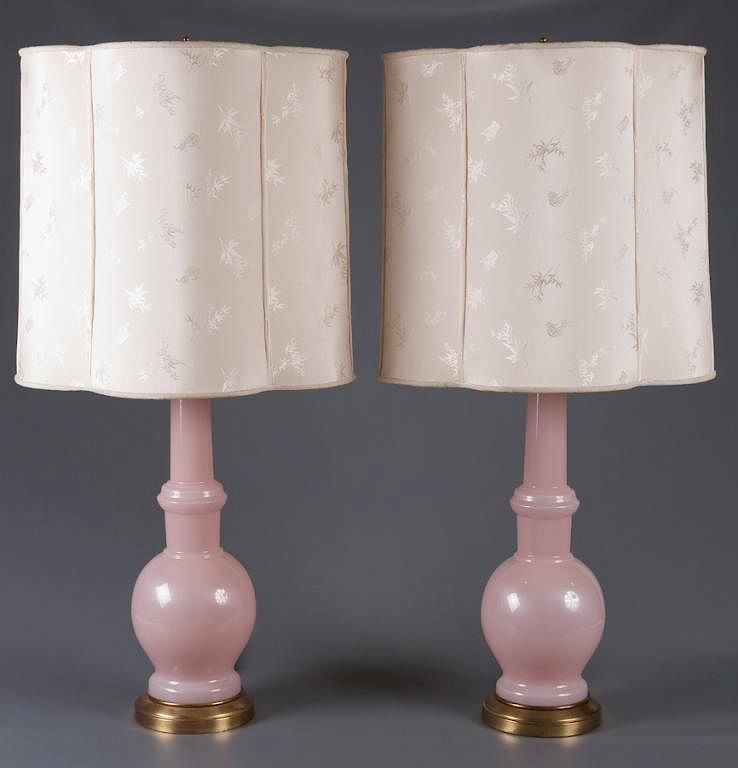 Warren Kessler Pink Opaline Gl Lamps Pair By Bremo