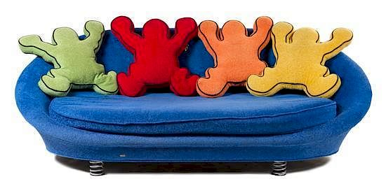 A Keith Haring Sofa By Bretz Circa 1998 Blue Oval Sofa With Four