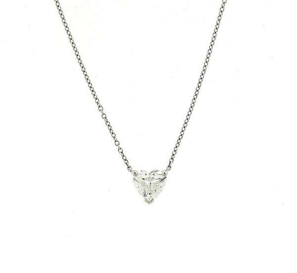 Tiffany Amp Co Platinum Heart Diamond Solitaire Necklace By Hampton Estate Auction 657568 Bidsquare