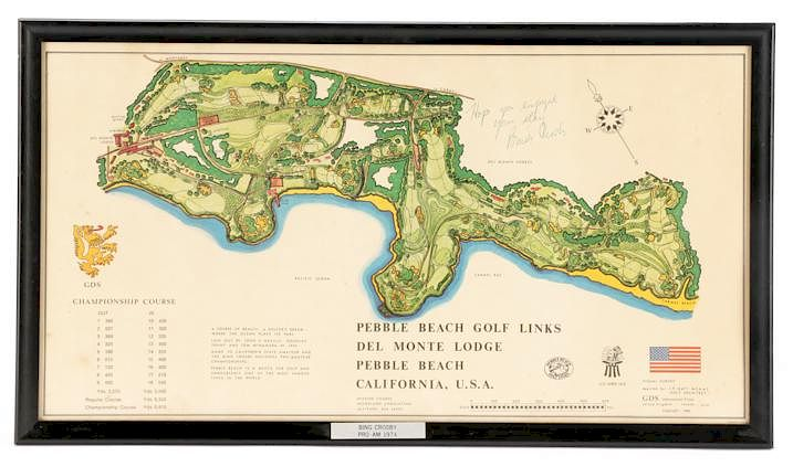 Pebble Beach Pro Am Course Map Signed Bing Crosby By Ahlers Ogletree Bidsquare