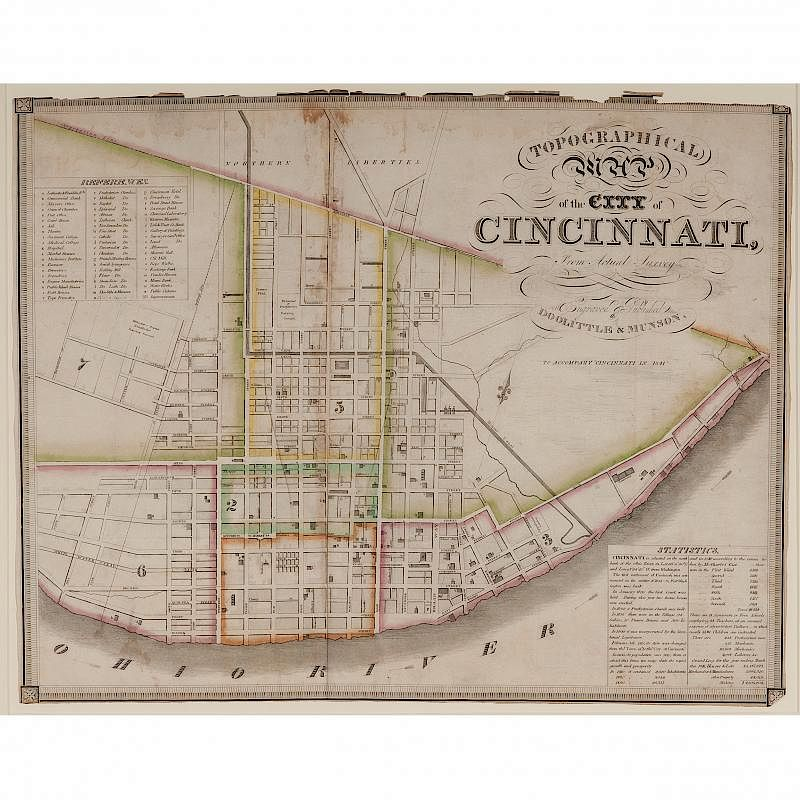 Hand Colored Topographical Map Of Cincinnati By Cowan 39 S Auctions
