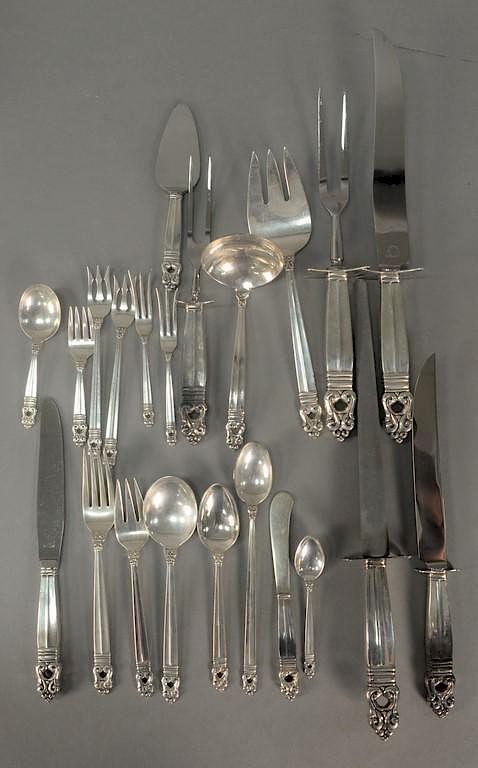 International Royal Danish Sterling Silver Salad Serving Set Fork /& Spoon