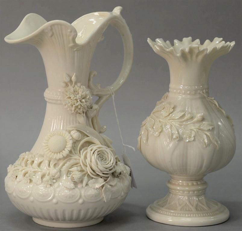 Two Belleek Vases Including Belleek Aberdeen Vase With Applied
