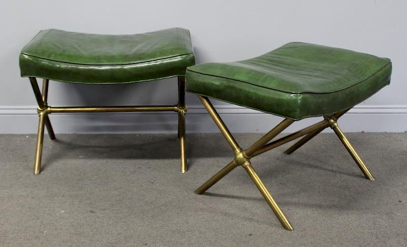 Stupendous Pair Of Brass X Base Leather Upholstered Benches By Clarke Beatyapartments Chair Design Images Beatyapartmentscom