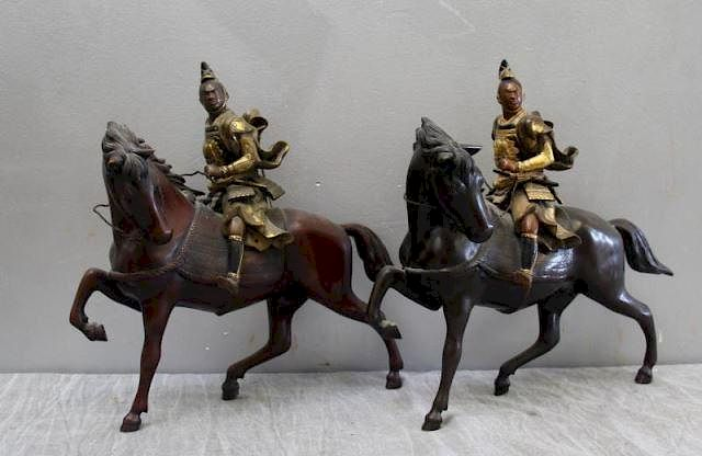 uk availability c2a84 8fea2 Pair of Signed Japanese Bronze Warriors on Horses. by Clarke ...