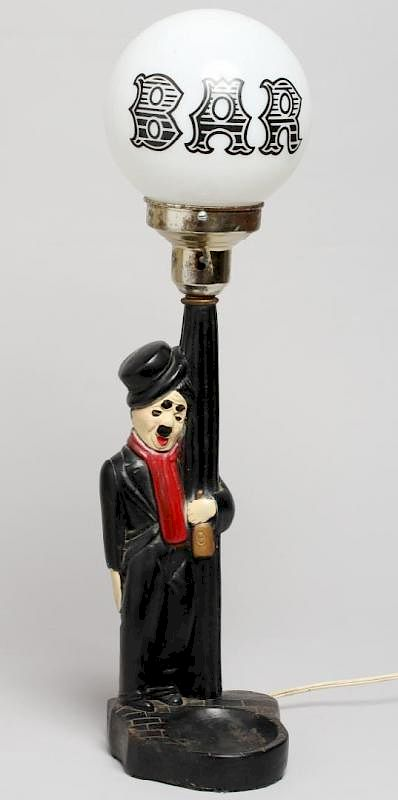 Vintage Charlie Chaplin Bar Globe Novelty Lamp By Showplace Antique Design Center Bidsquare