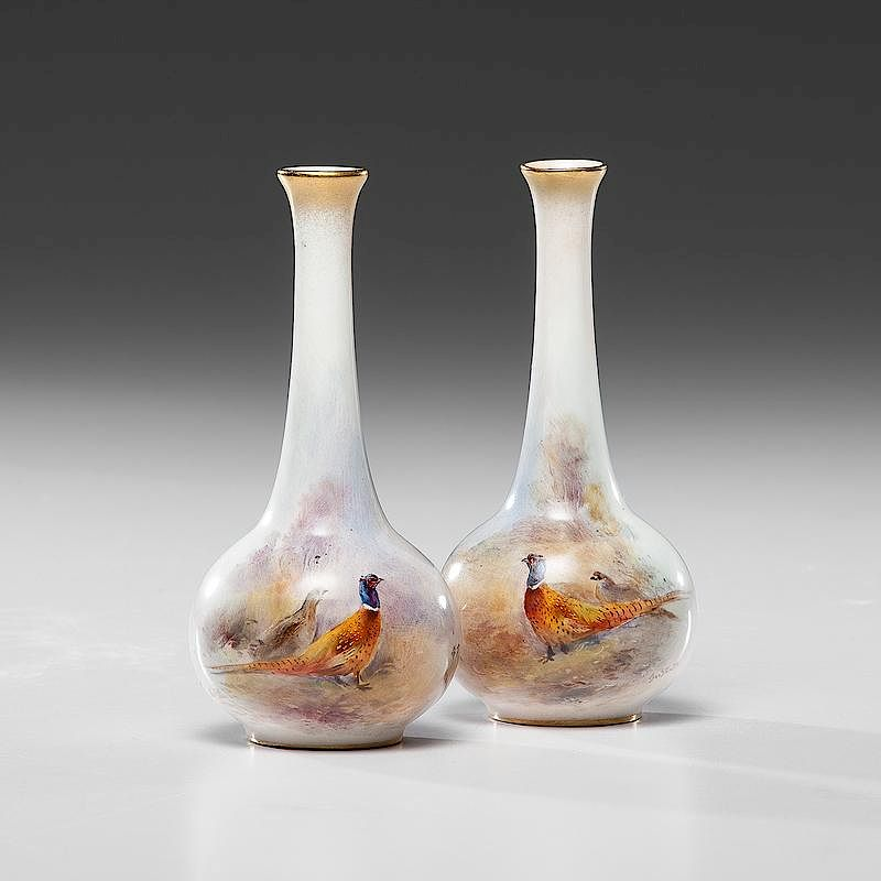 Royal Worcester Vases Decorated By James Stinton By Cowans