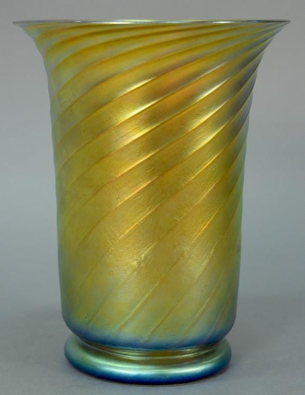 Steuben Art Glass Vase With Flared Rim And Swirled Body On Plain